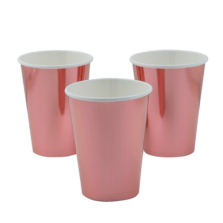 Fun Express - Rose Gold Foil 12oz Cups (8pc) - Party Supplies - Solid Tableware - Solid Cups - 8 Pieces