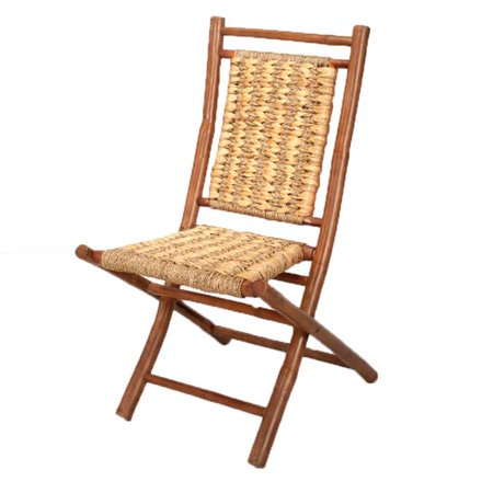 Kahala Bamboo Folding Chair with Open Link Weave of Water Hyacinth & Seagrass, Brown & Natural - Set of 2