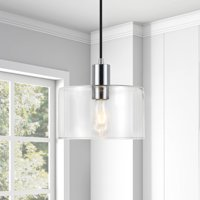 Henri Hand-Blown Metal and Glass Pendant Light in Silver Nickel Finish