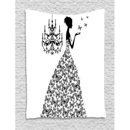 Vintage Tapestry, Love Home Country Wedding Themed Romantic Butterflies Princess Retro Parisienne, Wall Hanging for Bedroom Living Room Dorm Decor, Black White, by Ambesonne - Princess Themed Wedding