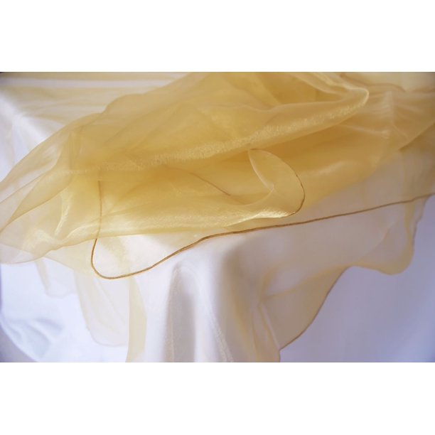 Wedding Linens Inc 90 Organza Sheer Round Table Overlay Toppers Tablecloth Gold Walmart Com