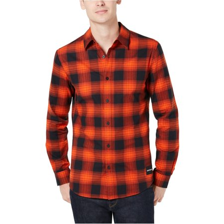 Calvin Klein Mens Buffalo Plaid Button Up Shirt