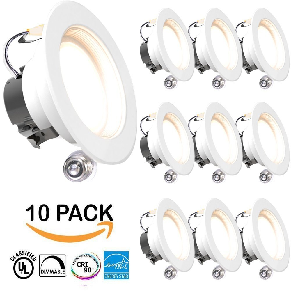 "SUNCO 10 PACK - 11Watt 4""- Inch ENERGY STAR UL-Listed Dimmable LED Downlight Retrofit Baffle Recessed Lighting Kit Fixture, 2700K Warm White LED Ceiling Light, Wet Location -- 600LM, CRI 90"