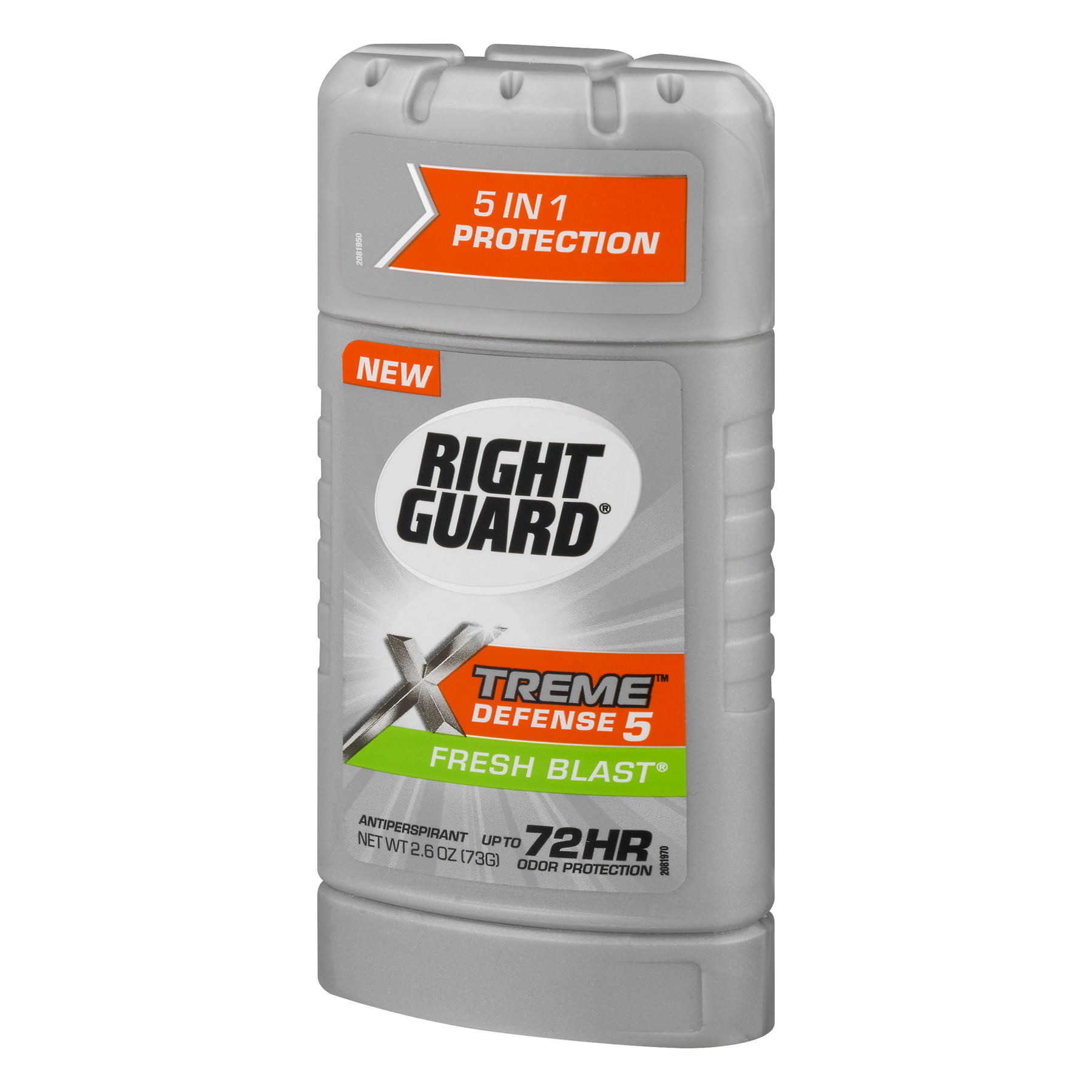 Right Guard Xtreme Defense 5 Antiperspirant Deodorant Invisible Solid Stick, Fresh Blast, 2.6 Oz
