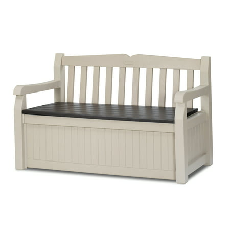 Keter Eden Outdoor Resin Storage Bench, All Weather Plastic Seating & Storage, 70 Gal, Beige/Brown