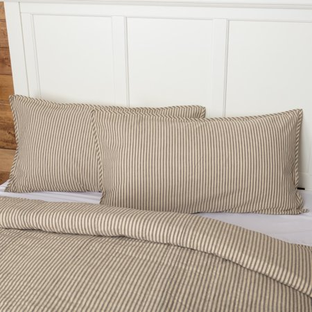 Cotton Stripes Pillow Sham (Dark Creme Charcoal White Farmhouse Bedding Miller Farm Charcoal Ticking Stripe Cotton Patchwork Chambray King)