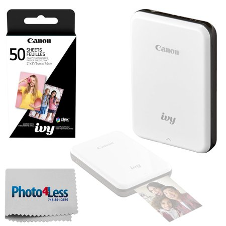 Canon IVY Mini Mobile Photo Printer (Slate Gray) - ZINK Zero Ink Printing Technology – Wireless/Bluetooth + Canon 2 x 3 ZINK Photo Paper Pack (50 Sheets) + Photo4Less Cleaning Cloth – Deluxe Bundle