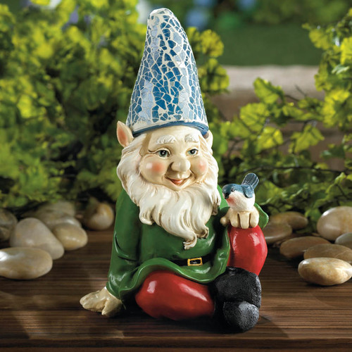 Zingz & Thingz Cheery Gnome Solar Statue by Home Locomotion
