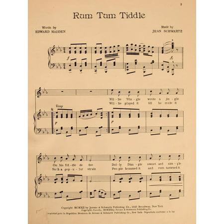Madden & Schwartz Sheet Music 1907 Rum Tum Tiddle 1 Stretched Canvas - Madden & Schwartz (18 x 24) (Iron Maiden Sheet Music)