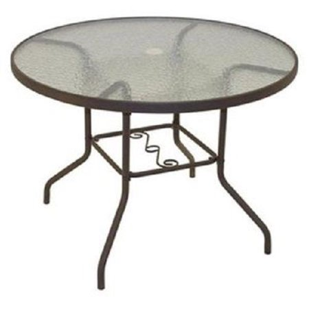 Rio Brands PTS40-TS Sienna Collection Patio Dining Table, Dark Brown Steel & Glass, 40-In. Round Glass Top Patio Tables