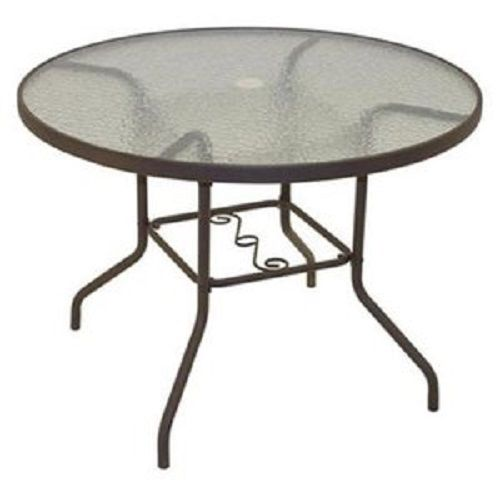rio brands pts40ts sienna collection patio dining table dark brown steel u0026 glass