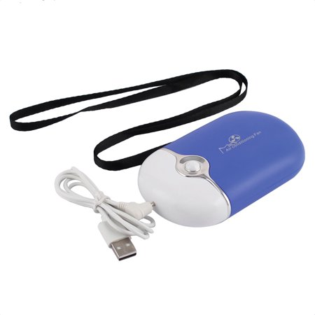 Blue Hand Fan (Portable Hand-held Rechargeable Quiet w USB Cable Hand Rope  Fan Air Conditioner)