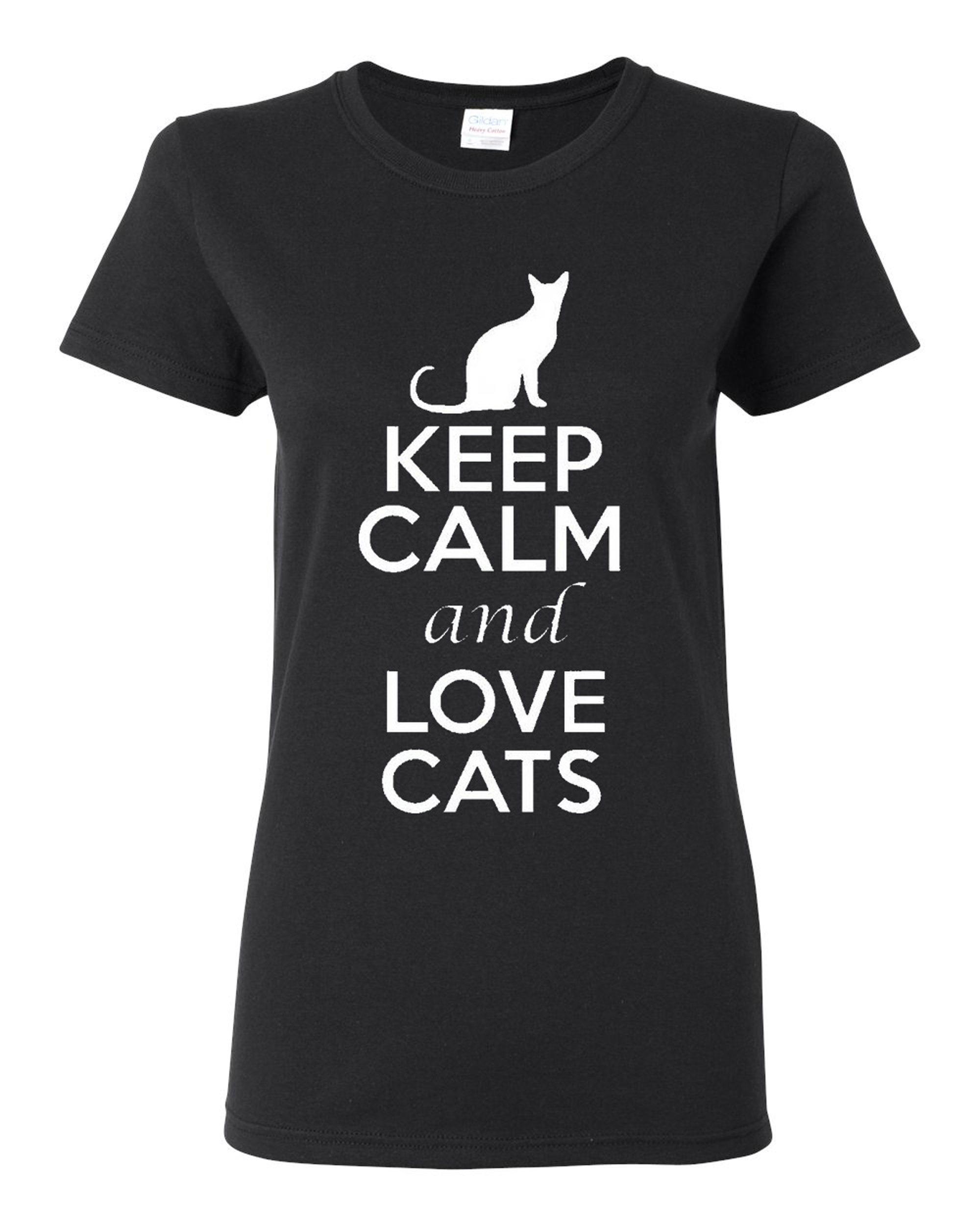 Ladies Keep Calm And Love Cats T-Shirt Tee