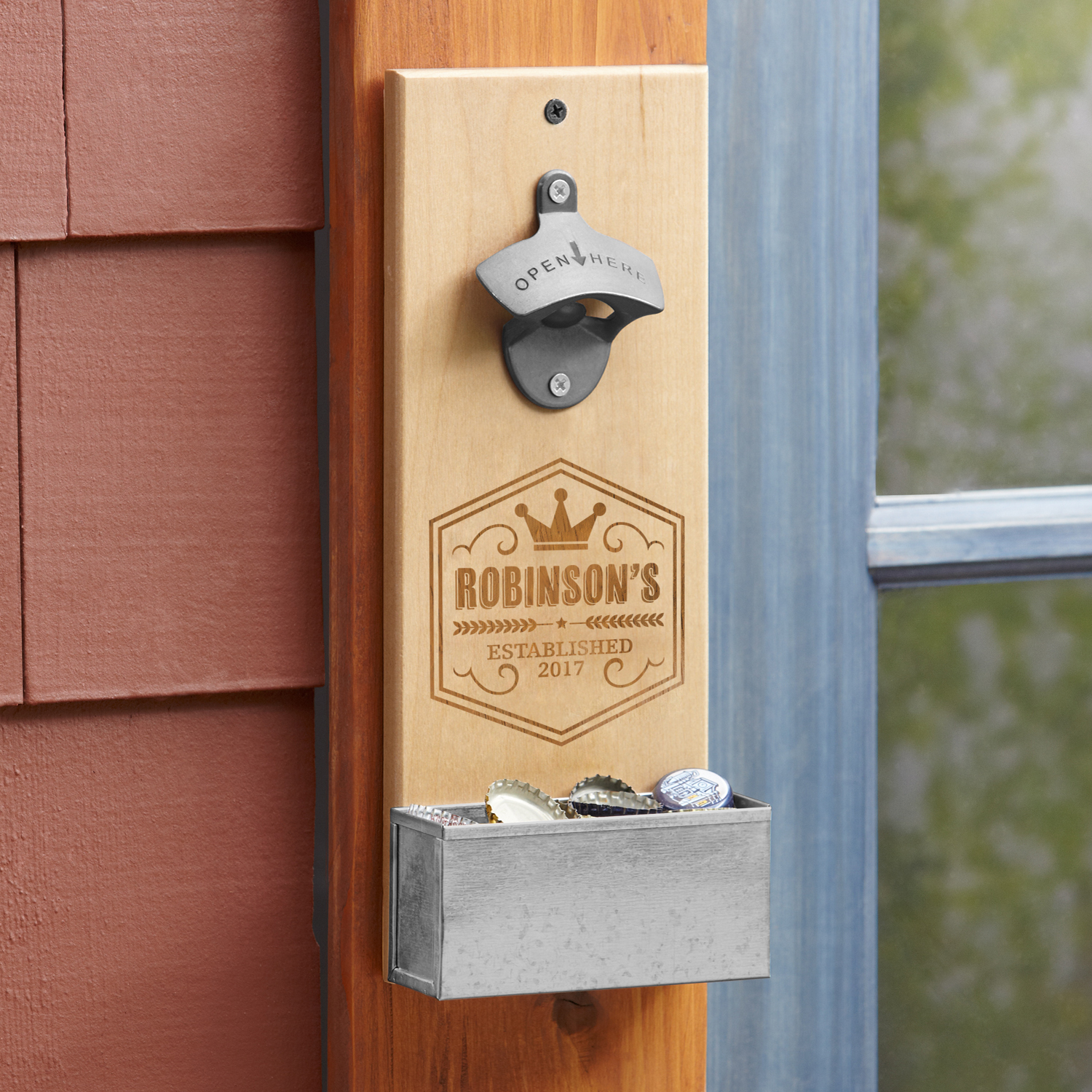 Personalized Crown Brew Pub Wall Bottle Opener