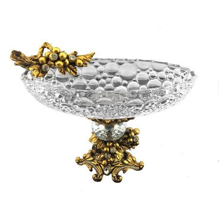 Elegant Sparkling Crystal Accented Round Bowl on Base Center Piece ()