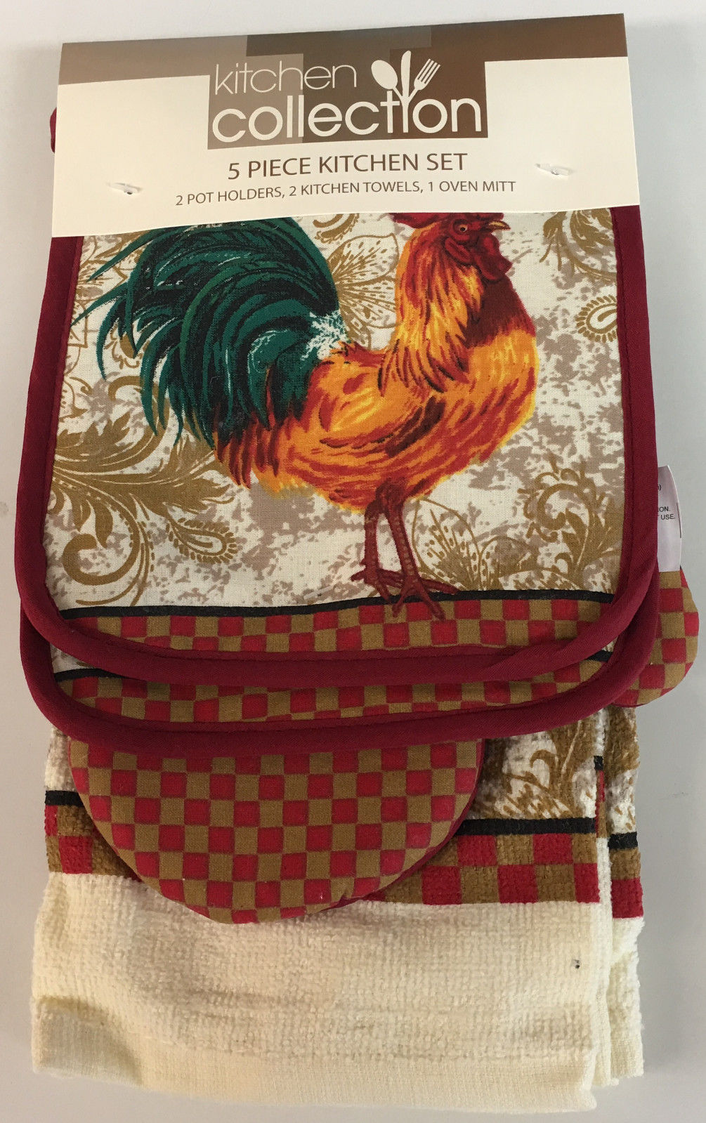 5 Piece Set Includes 2 Kitchen Towels, 2 Pot Holders and 1 Oven Mitt, Rooster by Popular Bath