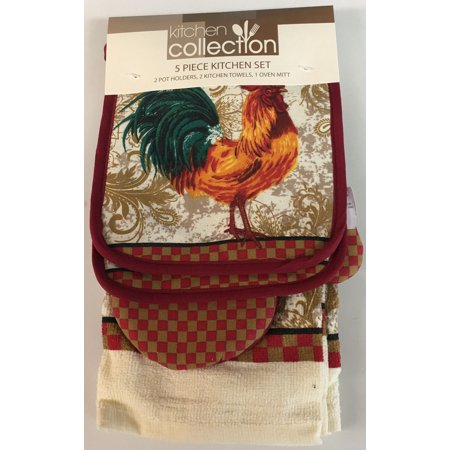 (5 Piece Set Includes 2 Kitchen Towels, 2 Pot Holders and 1 Oven Mitt, Rooster)