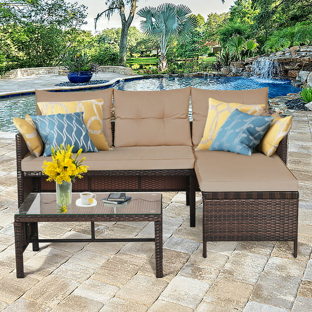 Costway 3PCS Patio Wicker Rattan Sofa Set Outdoor Sectional Conversation Set Garden Lawn