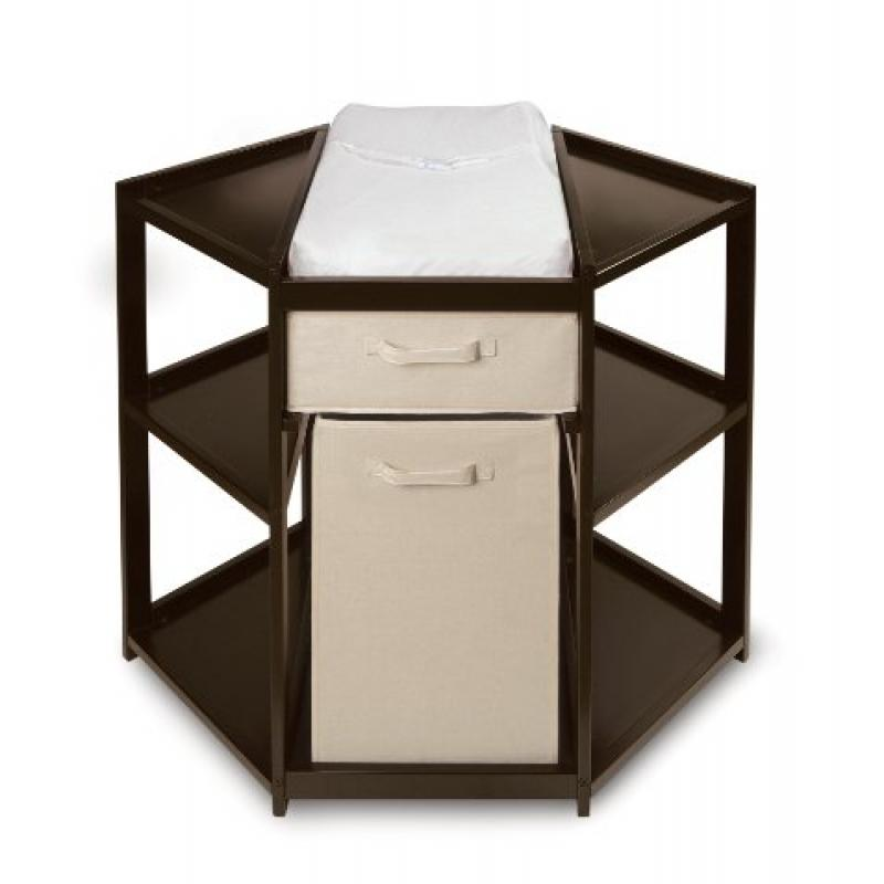 Badger Basket Baby Changing Table with Hamper and Basket, Espresso