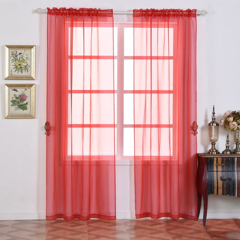 Efavormart 2 Panels Sheer Organza Window Drapery with Rod Pocket Window Treatment Curtain... by
