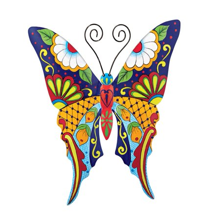 Colorful Metal Mexican Talavera Style Garden Wall Art, Butterfly ()