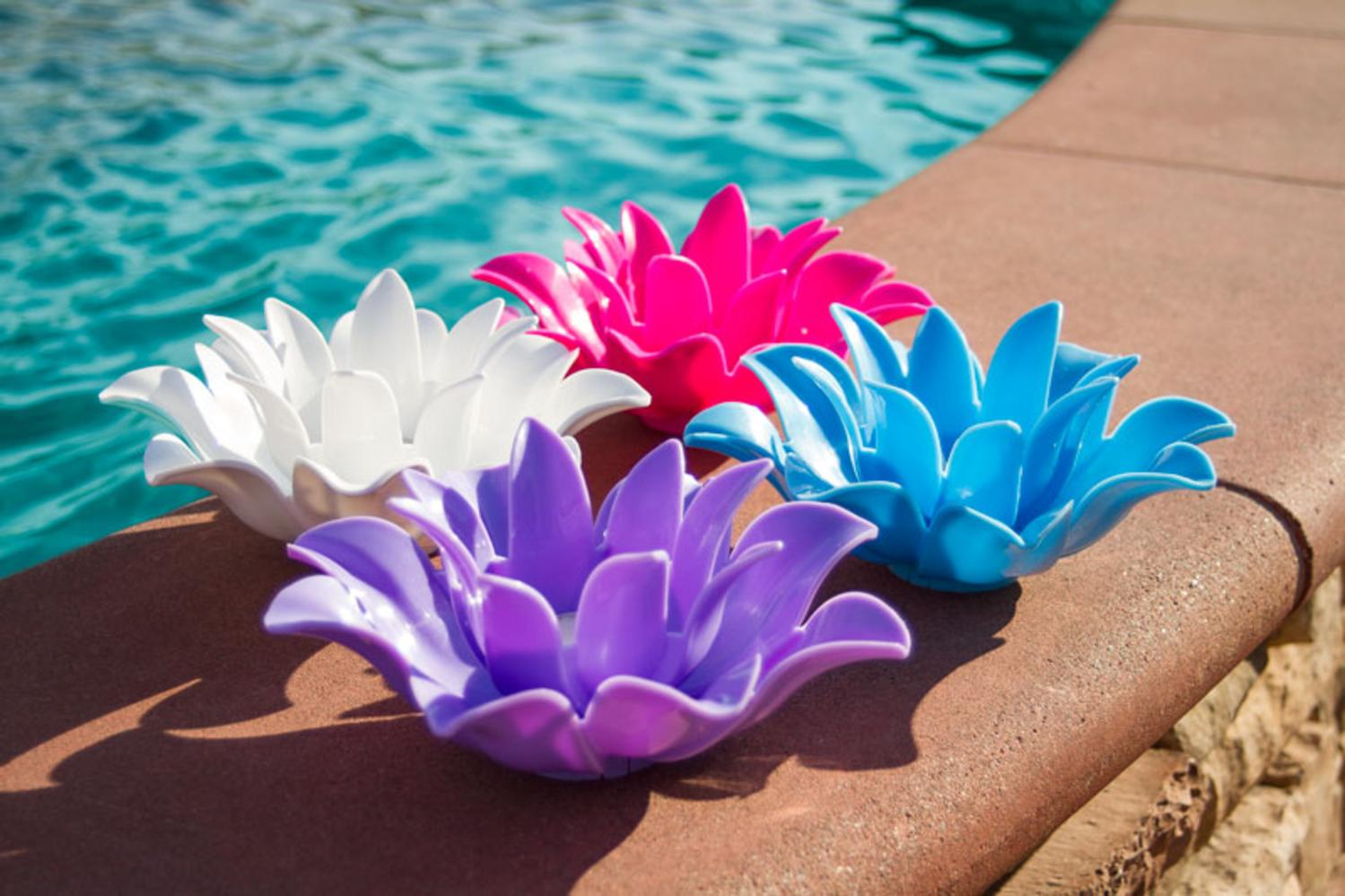 Set Of 4 Pink Light Blue Purple And White Floating Lotus Flower Tea