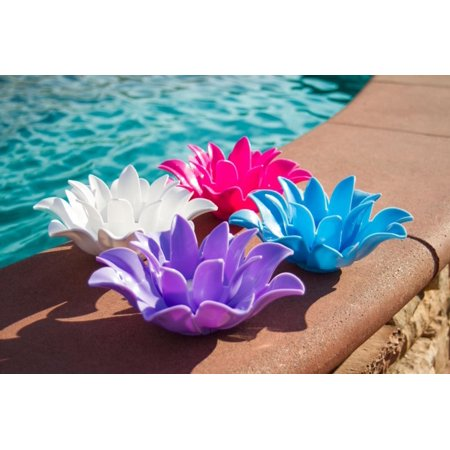 Set of 4 Pink, Light Blue, Purple and White Floating Lotus Flower Tea Light Candle Holders 9.75