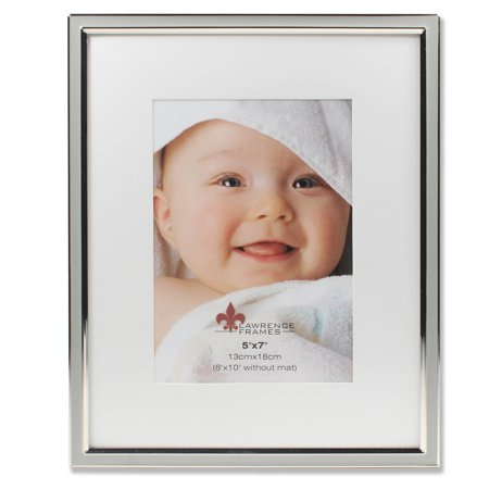 5x7 Matted Gray Enamel And Silver Metal Picture Frame 8x10 Without