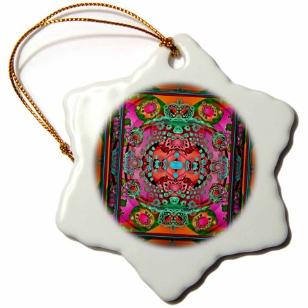 3dRose MANDALA 1 mandala india buddhism hinduism psychedellic meditation NewAge fractal multicoloured - Snowflake Ornament, - Fractal Snowflake