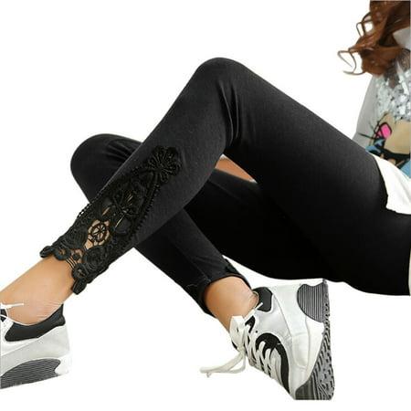 iLH Autumn Women Leg Triangle Side Lace Leggings (Lace Ruffle Leggings)