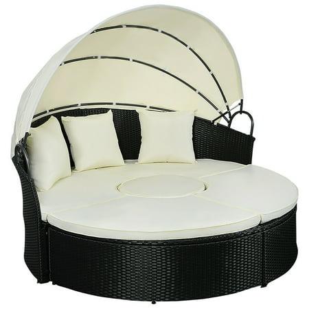- Costway Daybed Patio Sofa Furniture Round Retractable Canopy Wicker Rattan Outdoor