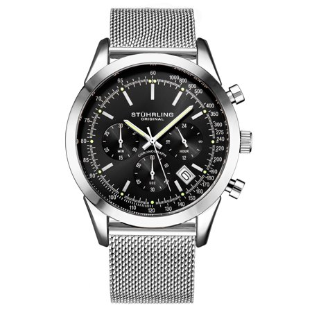 3975.1 Men's Quartz Chronograph Date Watch, Silver Tone Alloy Case, Black Dial, Stainless Steel Mesh (Mid Date Chronograph 30 Meters)