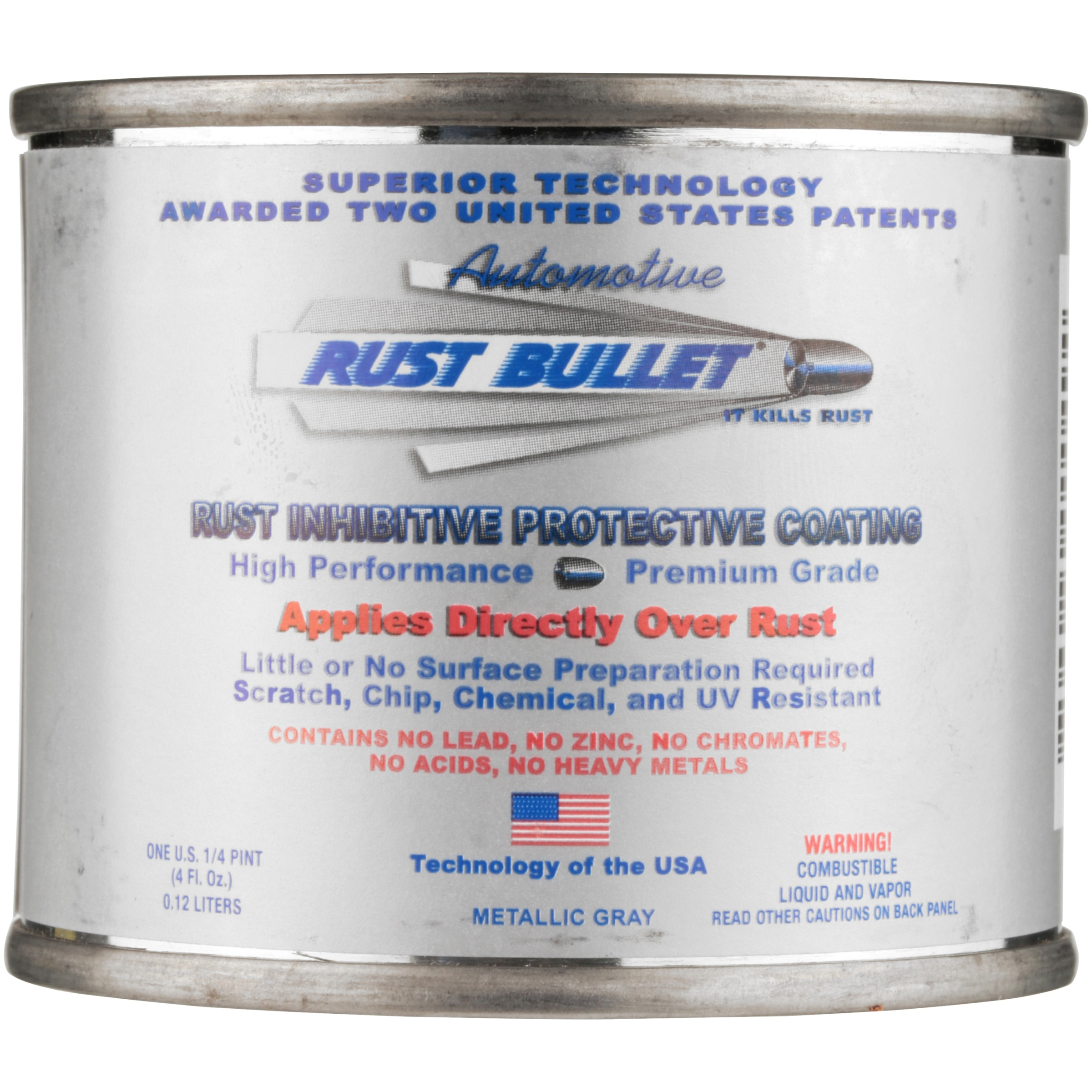 Rust Bullet® Metallic Gray Automotive Rust Inhibitive Protective Coating 0.25 pt. Can