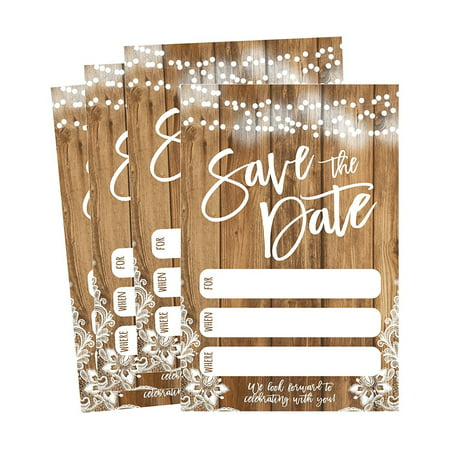 50 Rustic Save The Date Cards For Wedding, Engagement, Anniversary, Baby Shower, Birthday Party, Etc Save The Dates Postcard Invitations, Simple Blank Event Announcements - All Star Birthday Invitations