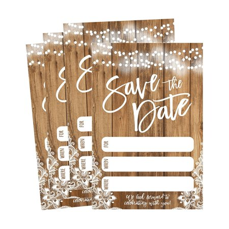 50 Rustic Save The Date Cards For Wedding, Engagement, Anniversary, Baby Shower, Birthday Party, Etc Save The Dates Postcard Invitations, Simple Blank Event Announcements - Halloween Rhymes For Invitations