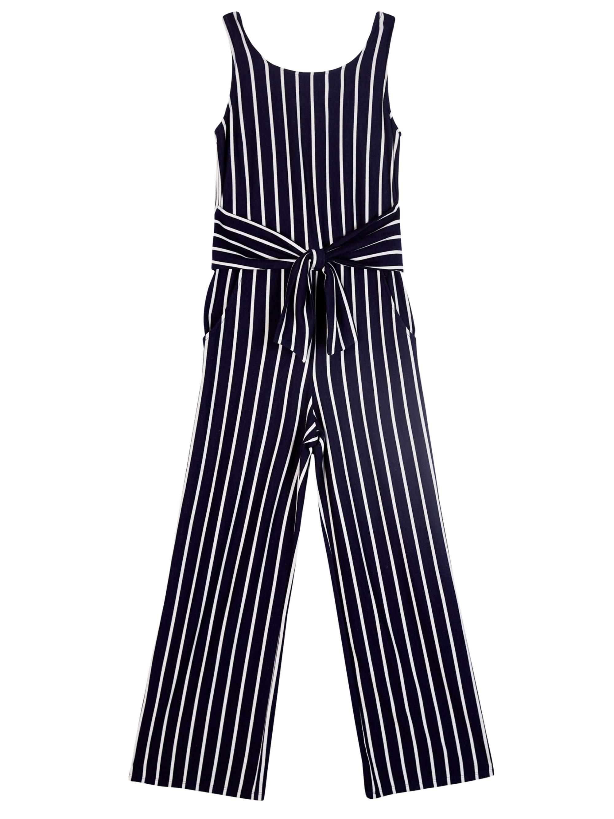 Tie Front Striped Jumpsuit (Big Girls)