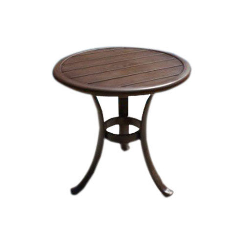 Hospitality Rattan Coco Palm Patio End Table with Slatted Aluminum Top - Dark Bronze