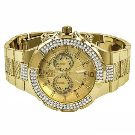 Iced Out Mens Watch 14K Yellow Gold Finish Simulated Diamond Ice Master Stainless Steel Back Jo Rodeo - Master Mens Diamond Watch