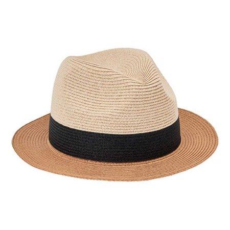 Women's San Diego Hat Company Fedora Colorblock Paperbraid - Fedora Hat Olive