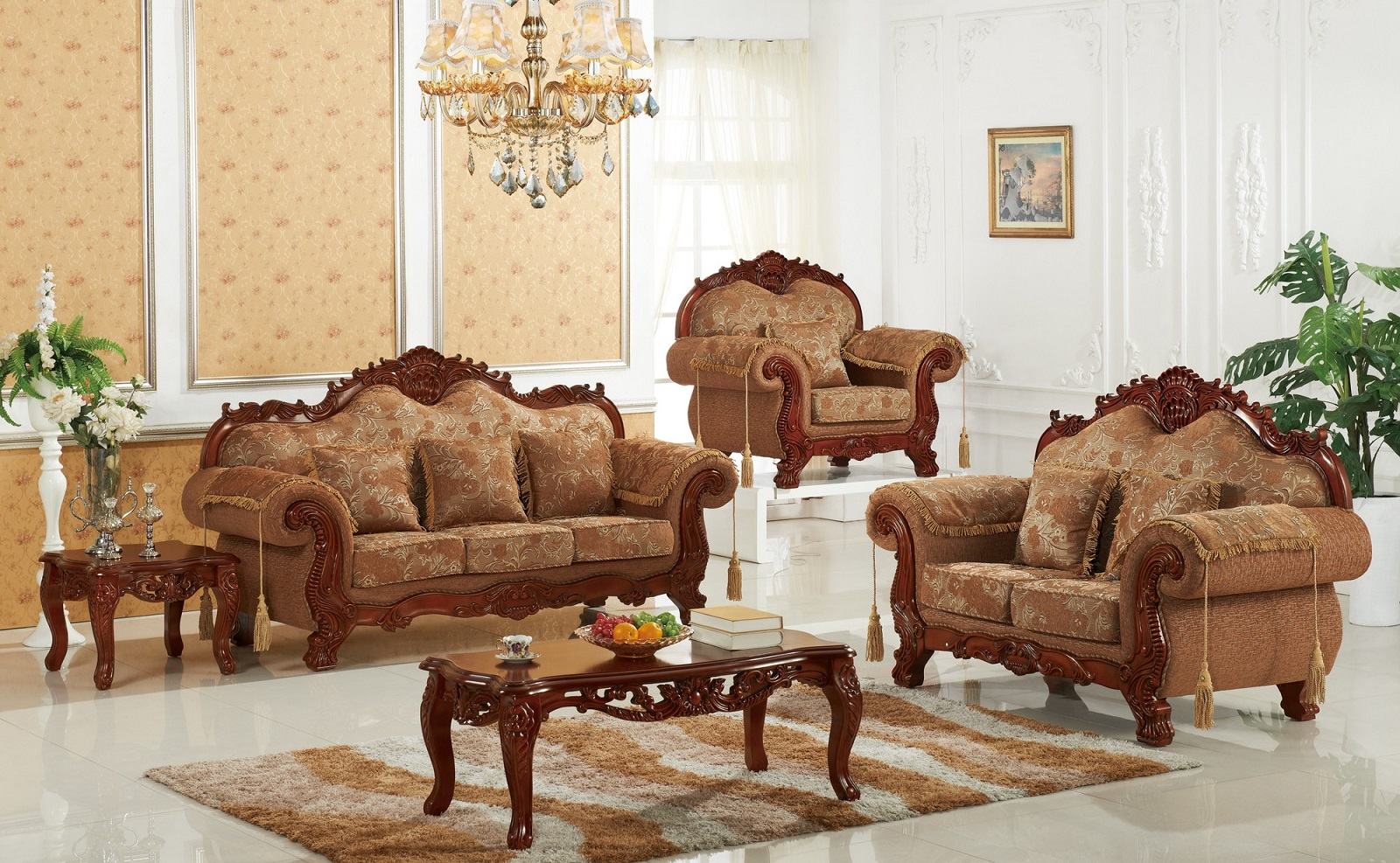 Sofa Set Living Room Furniture Cherry Finish Traditional Sofa Loveseat  Formal Plush Cushioned Seating Armrest Pillows   Walmart.com
