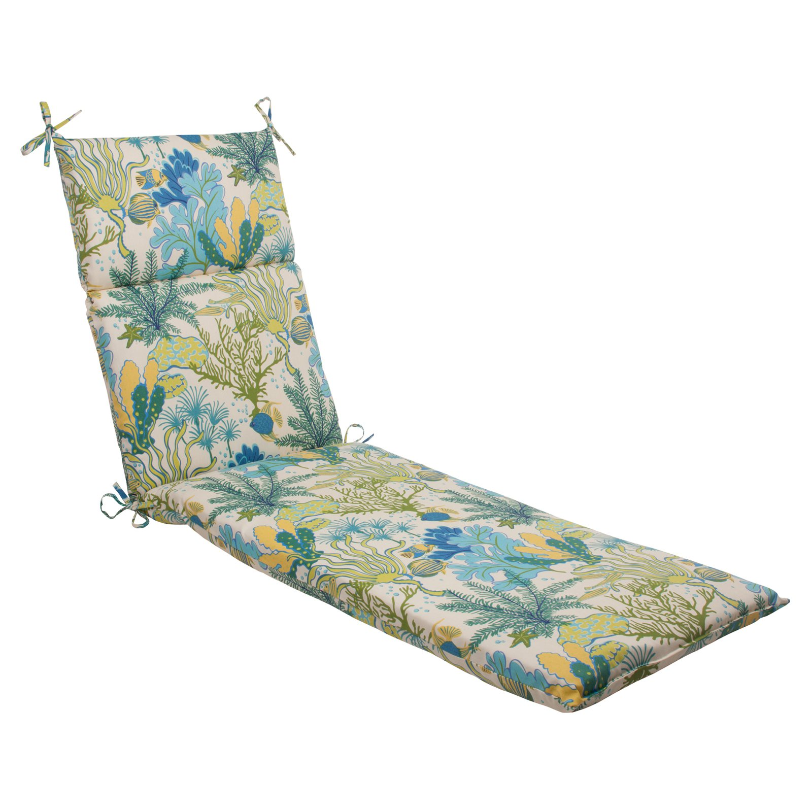 Pillow Perfect Outdoor/ Indoor Splish Splash Blue Chaise Lounge Cushion