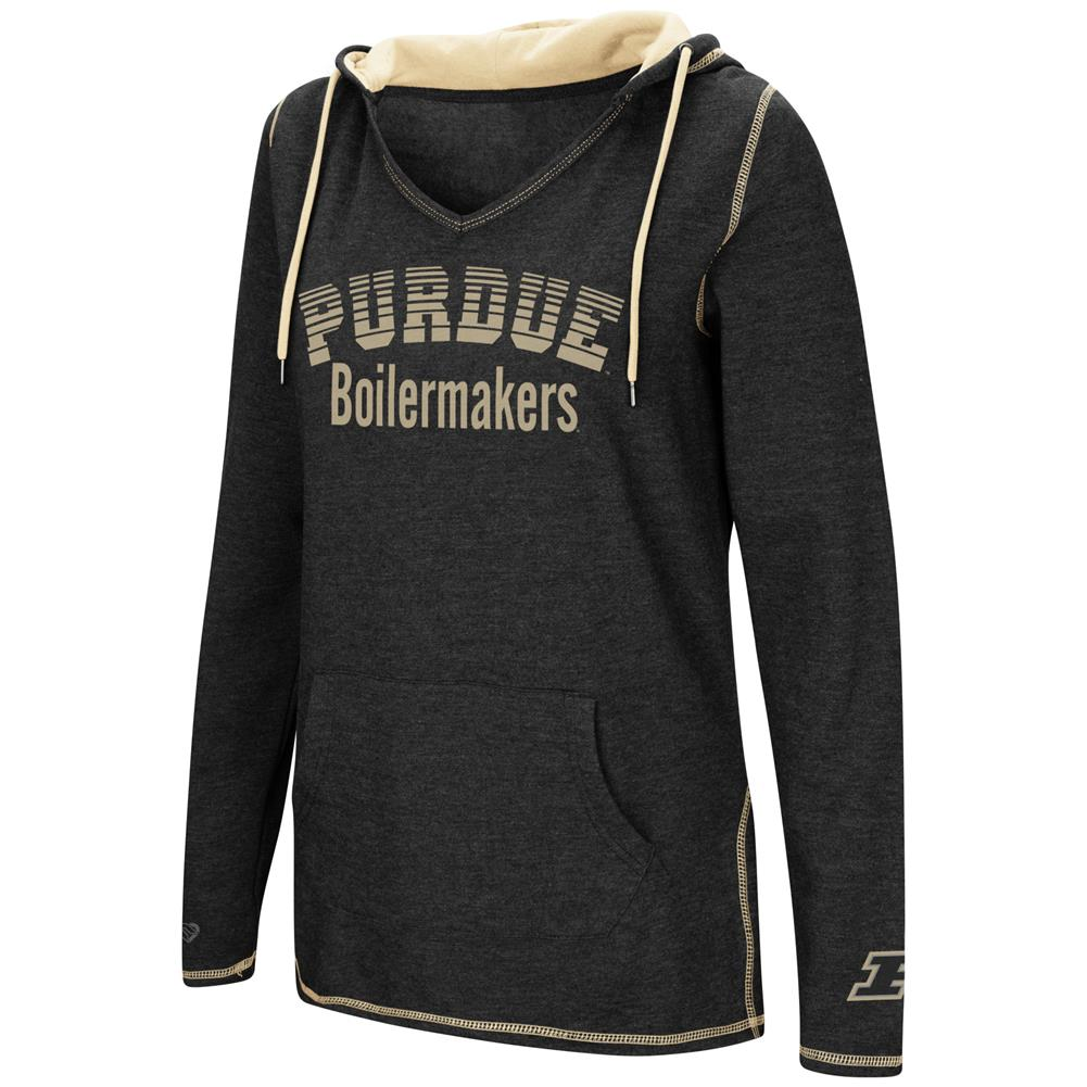 Purdue University Ladies V-Neck Hoodie Pullover Sweatshirt