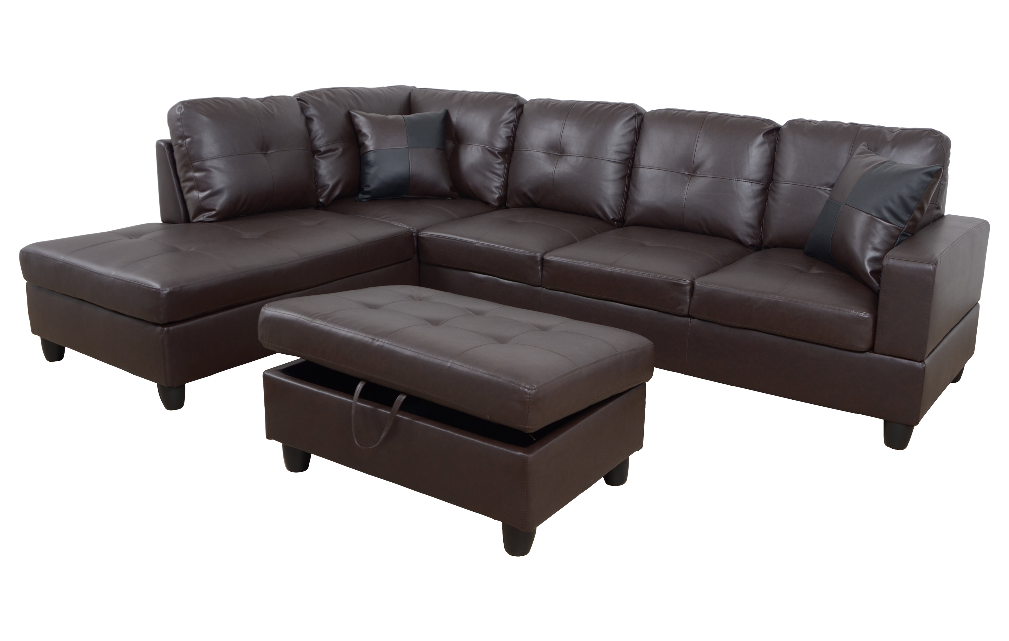 AYCP Furniture L-Shape Traditional Sectional Sofa Set with Ottoman, Left  Hand Facing Chaise, Faux Leather Upholstery Material, Brown Color, More ...