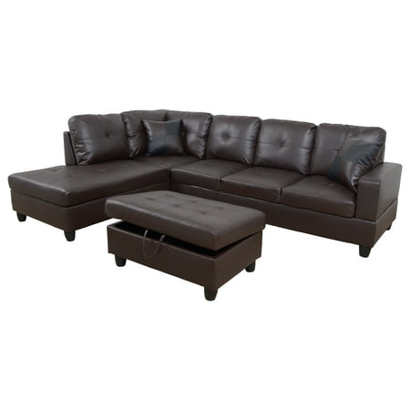 Brown Leather Chaise - AYCP Furniture L-Shape Traditional Sectional Sofa Set with Ottoman, Left Hand Facing Chaise, Faux Leather Upholstery Material, Brown Color, More Colors&Styles Available