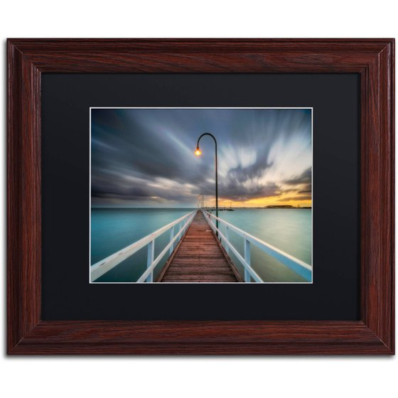 "Trademark Fine Art ""Lagoon Pier 2"" Canvas Art by Lincoln Harrison, Black Matte, Wood Frame"