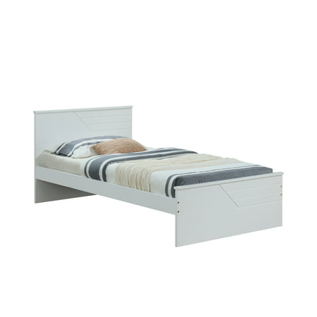 ACME Ragna Wooden Panel Platform Bed in Twin Size and White Finish