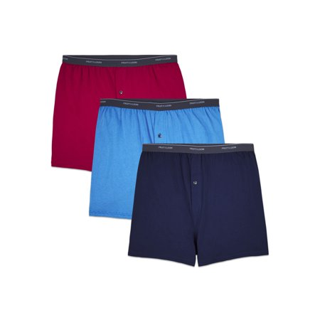 Fruit of the Loom Big Men's Cotton Knit Boxers, 3 Pack Cotton Boxer Knit Shorts