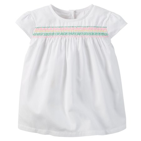 Carters Baby Clothing Outfit Girls Smocked Poplin Top White (Best Cheerleading Outfits)