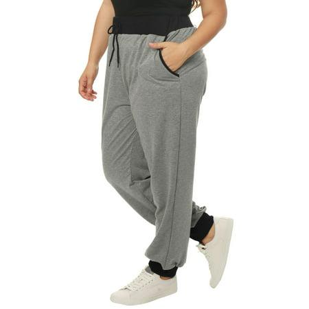 Women Plus Size Drawstring Waist Contrast Color Jogger Pants Gray 2X - image 6 de 7