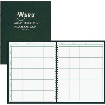 Lesson Planbook (Ward, HUB18, Teacher's 8-period Lesson Plan Book, 1 Each, White,Dark)